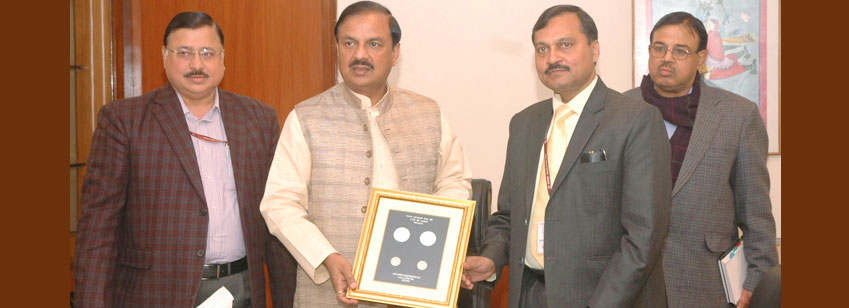 Dr. Mahesh Sharma releasing a commemorative coin of Rs 150 and circulation coin of Rs 10, on the occasion of the 150th birth anniversary celebration of Lala Lajpat Rai, in New Delhi on January 28, 2016.